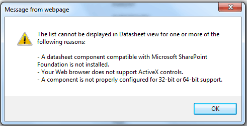 The list cannot be displayed in datasheet view