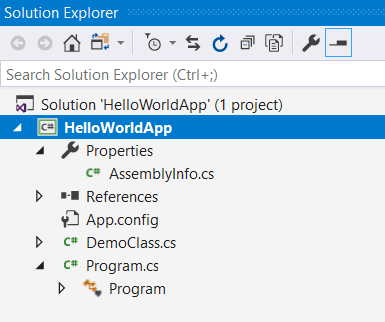 how to add a c# class in visual studio 2017