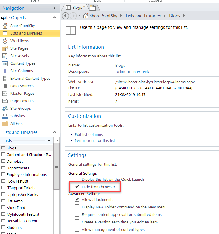 hide document library sharepoint