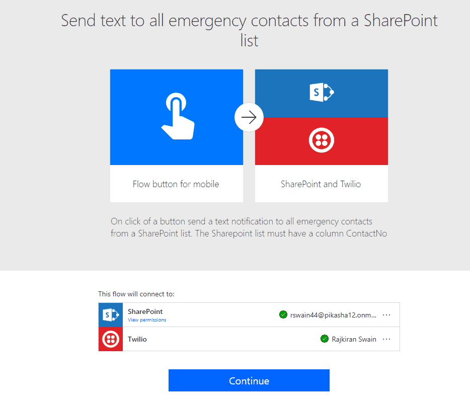 Microsoft Flow Send text to all emergency contacts from a SharePoint list