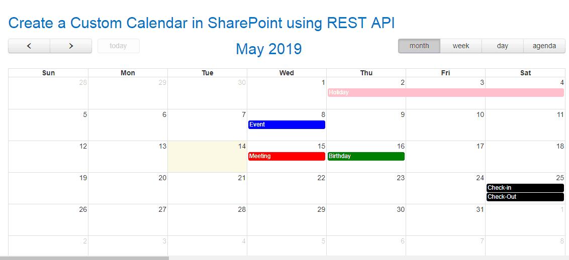 Create a Custom Calendar in SharePoint using Rest API and jQuery
