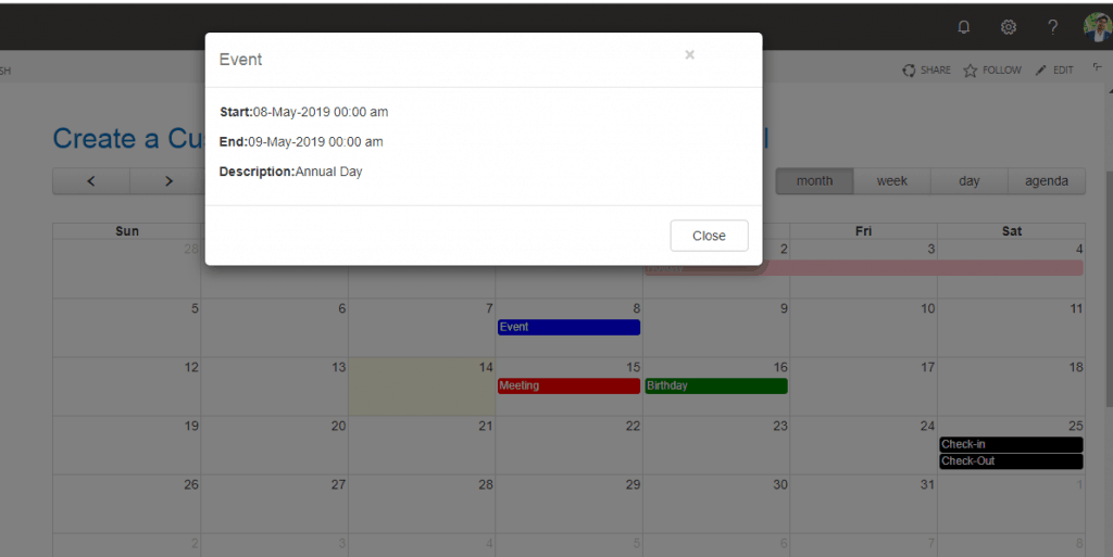create custom calendar using jquery sharepoint online