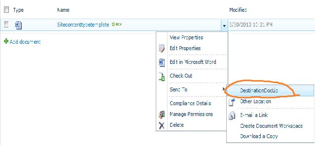 Add custom send to destination in ECB menu in SharePoint 2010
