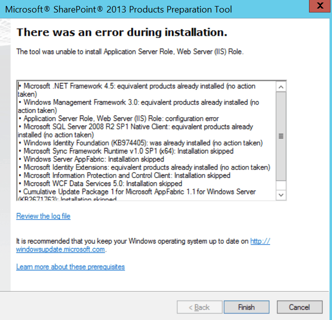 The tool was unable to install application server role, web server (IIS) role