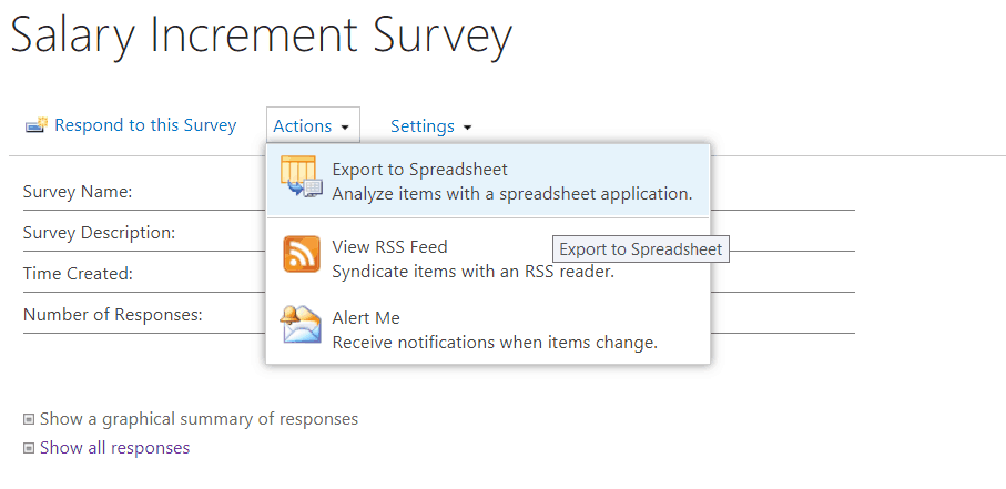 SharePoint 2013: Export survey results to excel – EnjoySharePoint