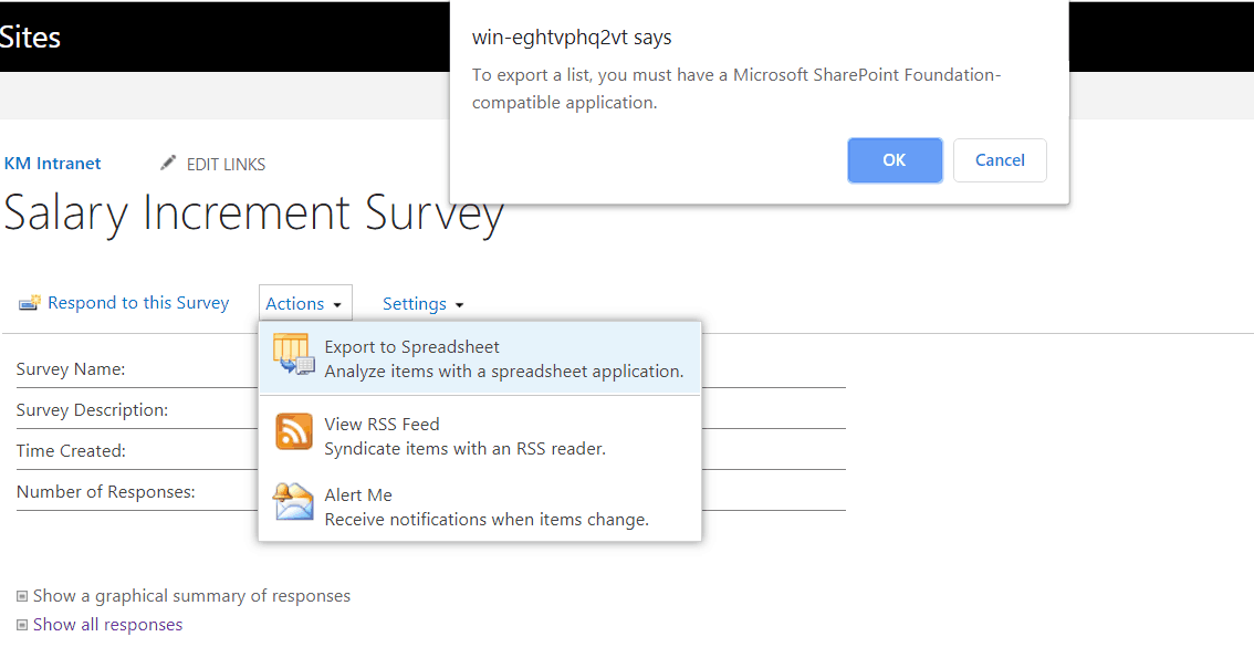 SharePoint 2013: Export survey results to excel