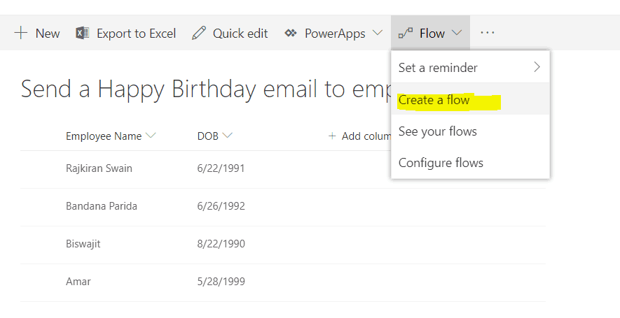 Send wishes to employees by email as per the birth date in SharePoint list