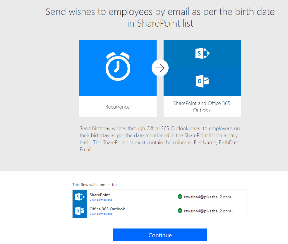 microsoft flow send happy birthday email