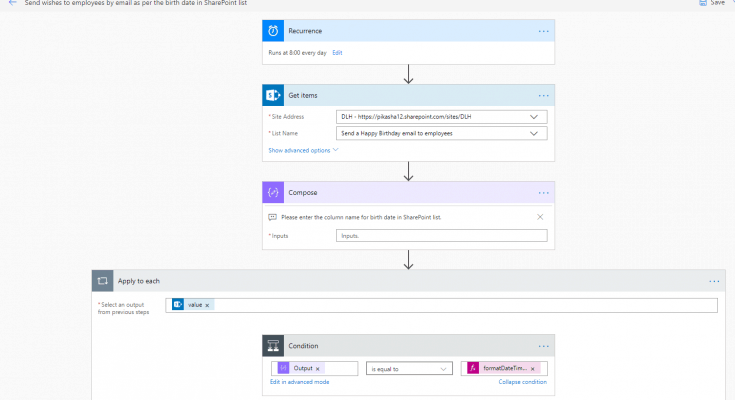 Send a Happy Birthday email to employees using Microsoft Flow