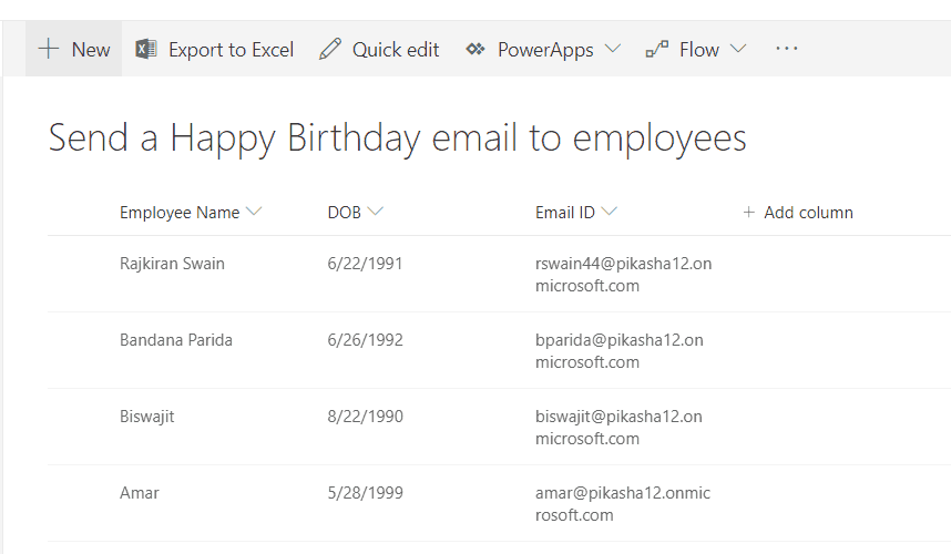 send happy birthday email using microsoft flow