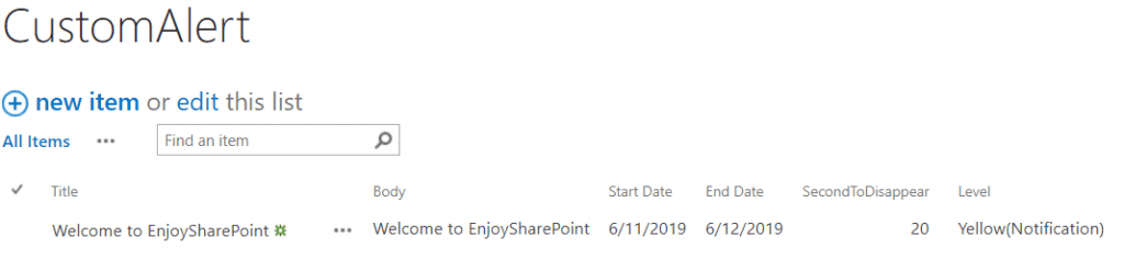 display custom alert message using rest api in SharePoint 2019