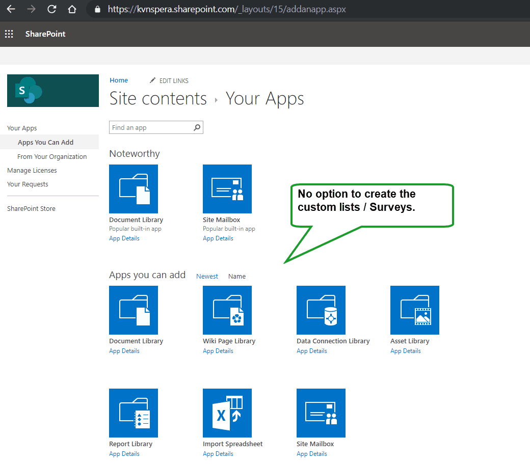 unable to create survey list in sharepoint online