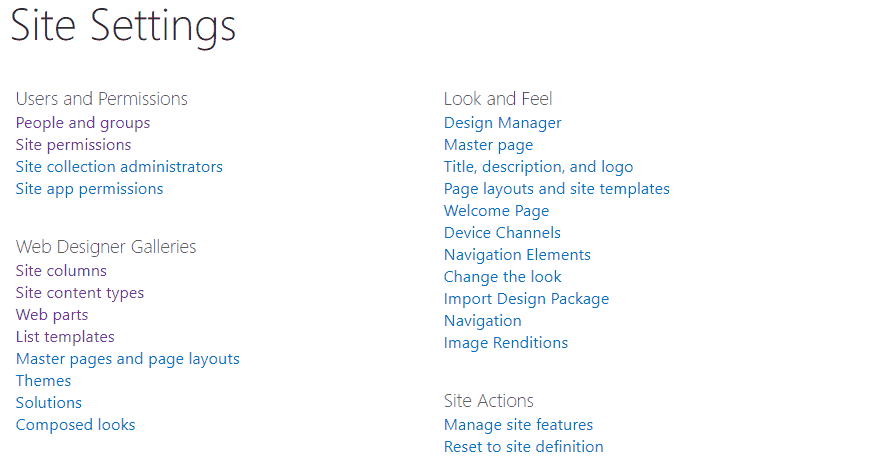 sharepoint site settings url