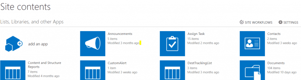 sharepoint site contents page url