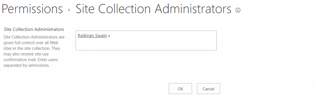 SharePoint Manage Site collection administrator url