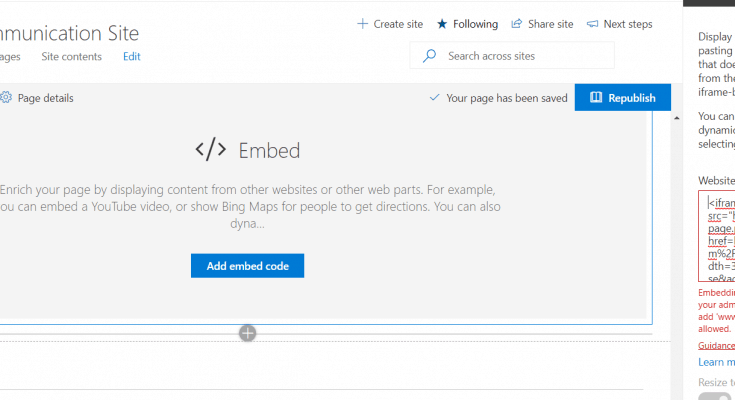 embed facebook page in sharepoint online