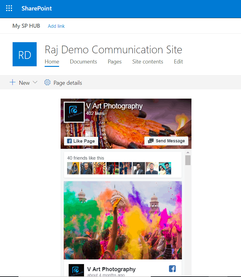 embed facebook page in sharepoint online modern sites