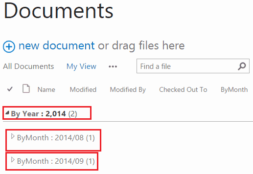 sharepoint list group by month