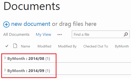 sharepoint library group by month
