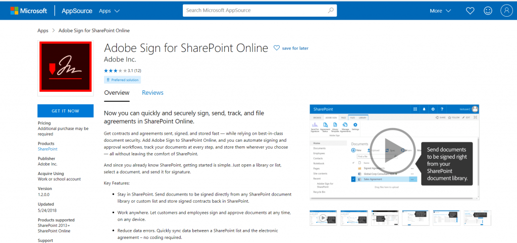 Adobe Sign for SharePoint Online