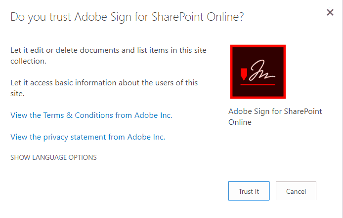 adobe sign sharepoint on premise
