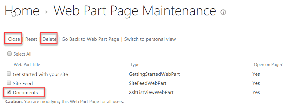 web part maintenance page error in sharepoint 2013