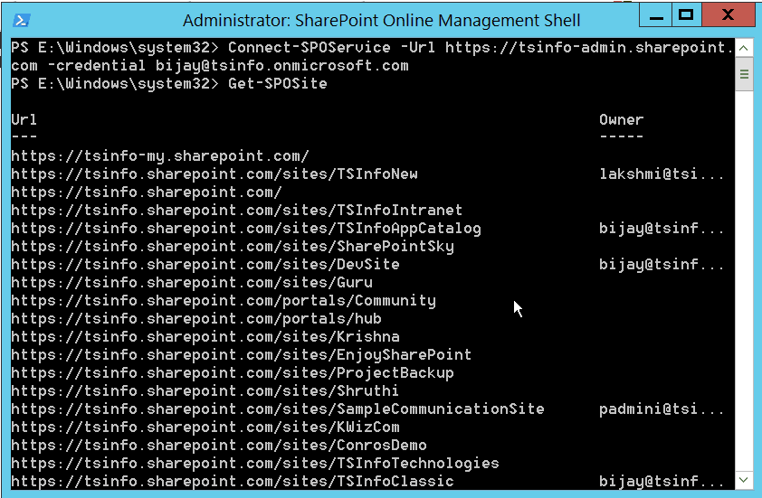 connect to sharepoint online site using powershell