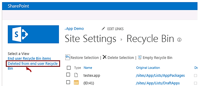 sharepoint 2013 recycle bin location