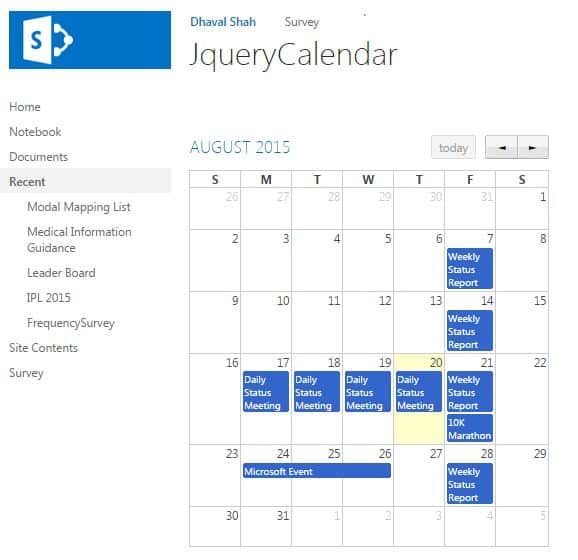 how to use FullCalendar library in SharePoint