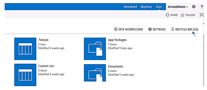 sharepoint online recycle bin