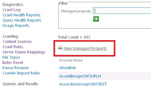 Configure managed properties SharePoint 2016
