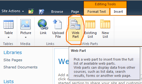 add web part in web page sharepoint 2010