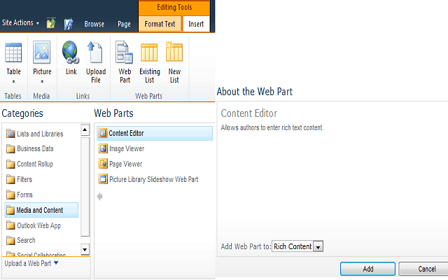 how to add web part in web page sharepoint 2010