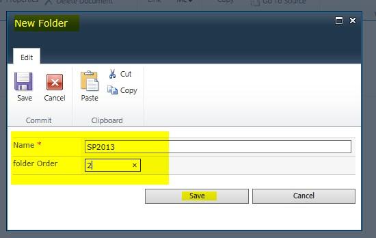 SharePoint document library folder sort order
