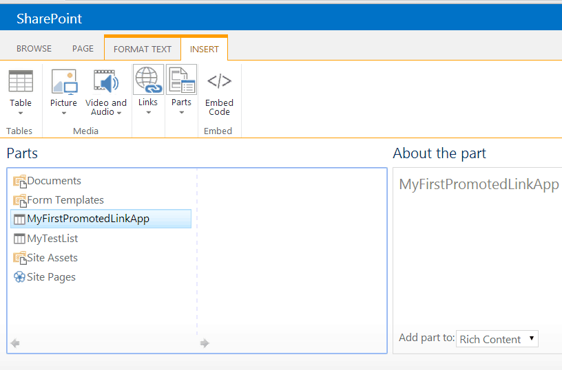 create promoted links in sharepoint online