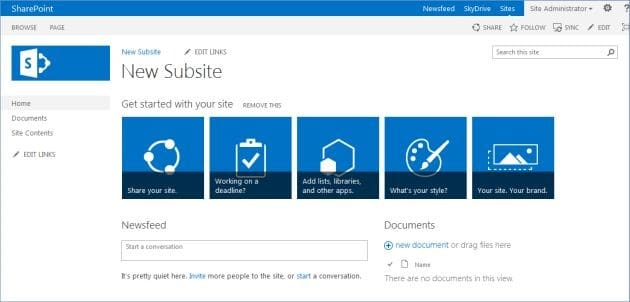 how to create subsite in sharepoint