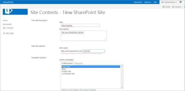 sharepoint 2016 create subsite