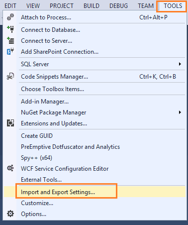 reset visual studio 2013 settings