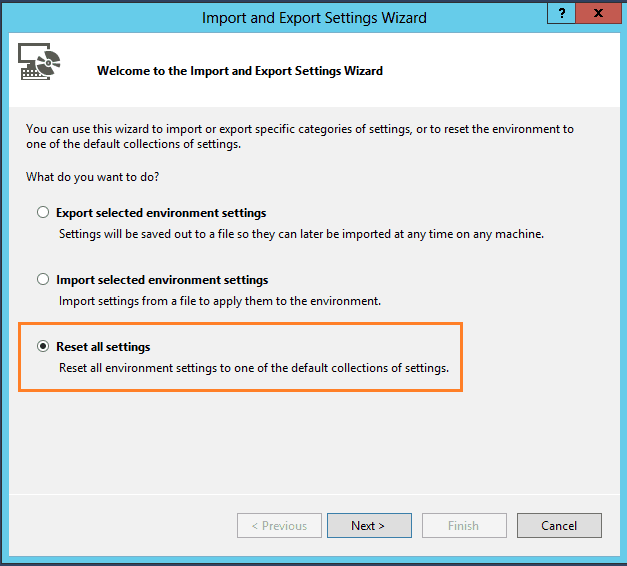 reset visual studio 2015 settings