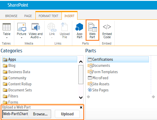 Chart web part in SharePoint 2013