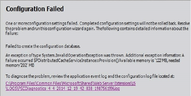 Failed to create the configuration database error in SharePoint 2013