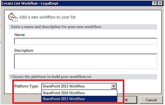 The Option for the SharePoint 2013 Workflow Platform is not available