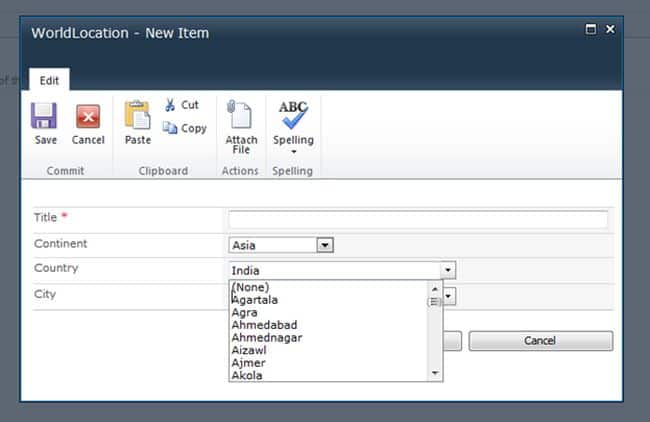 cascading dropdown in sharepoint list using jquery