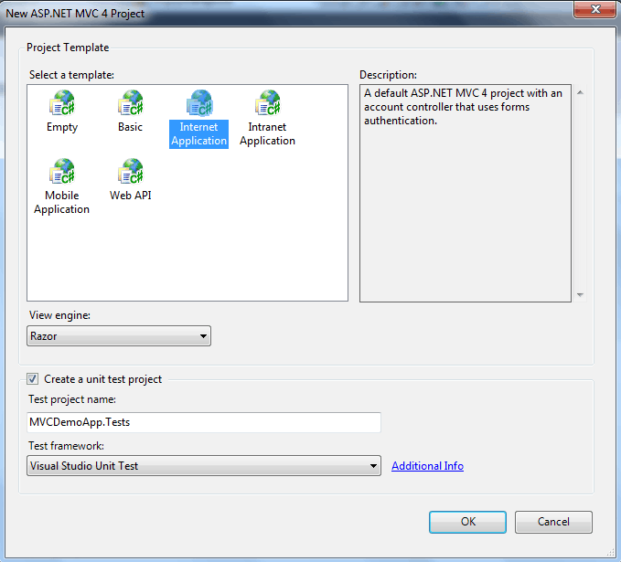 create asp.net MVC4 application visual studio