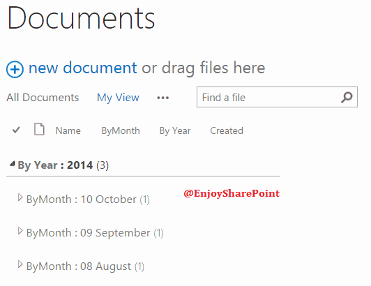create sharepoint list view group by month
