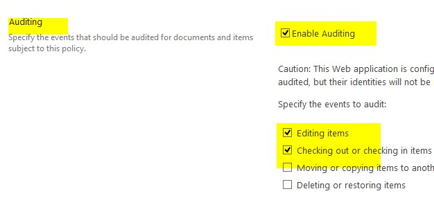 how to enable audit log in sharepoint 2013