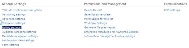 sharepoint list rating settings