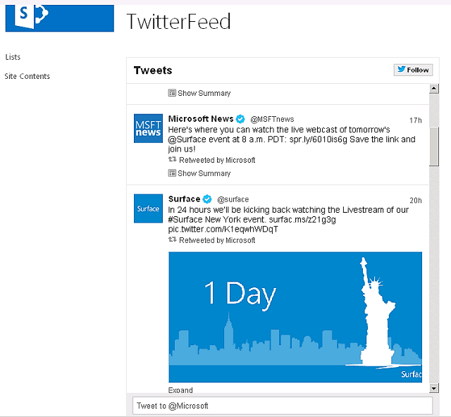 sharepoint 2013 embed twitter feed