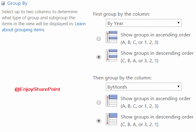sharepoint list view group by calculated column