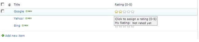 star rating in sharepoint list